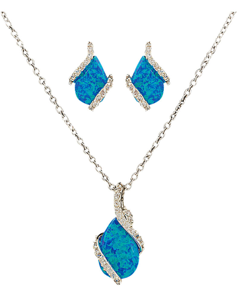 Montana Silversmiths Women's River Lights Twin Paths Jewelry Set, Silver, hi-res