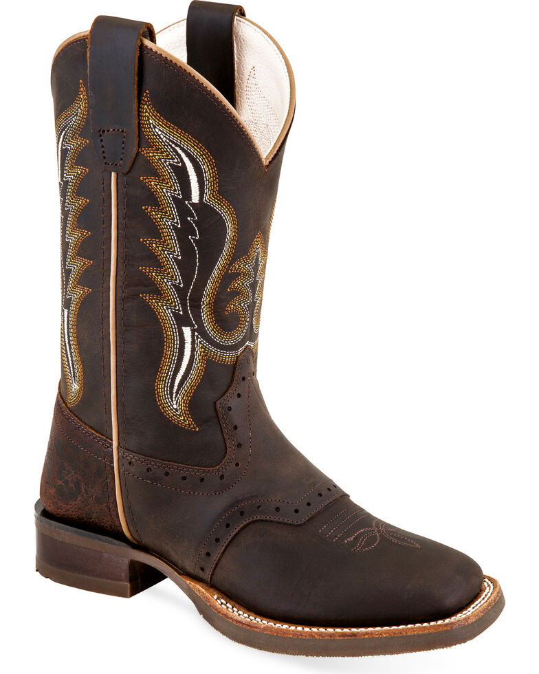 Old West Youth Boys' Brown Leather Saddle Vamp Cowboy Boots - Square Toe, Brown, hi-res