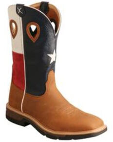 Twisted X Men's Texas Flag Lite Western Work Boots - Soft Toe, Lt Brown, hi-res