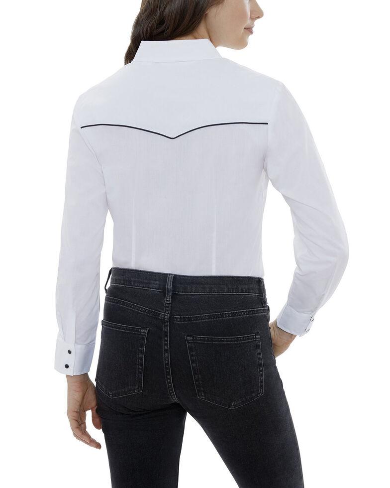 Ely Walker Women's White Piping Long Sleeve Western Shirt - Plus, White, hi-res