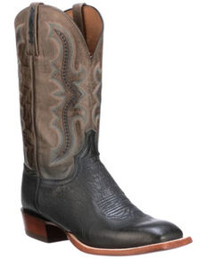 Lucchese Men's Cecil Exotic Ostrich Skin Western Boots - Wide Square Toe, Navy, hi-res