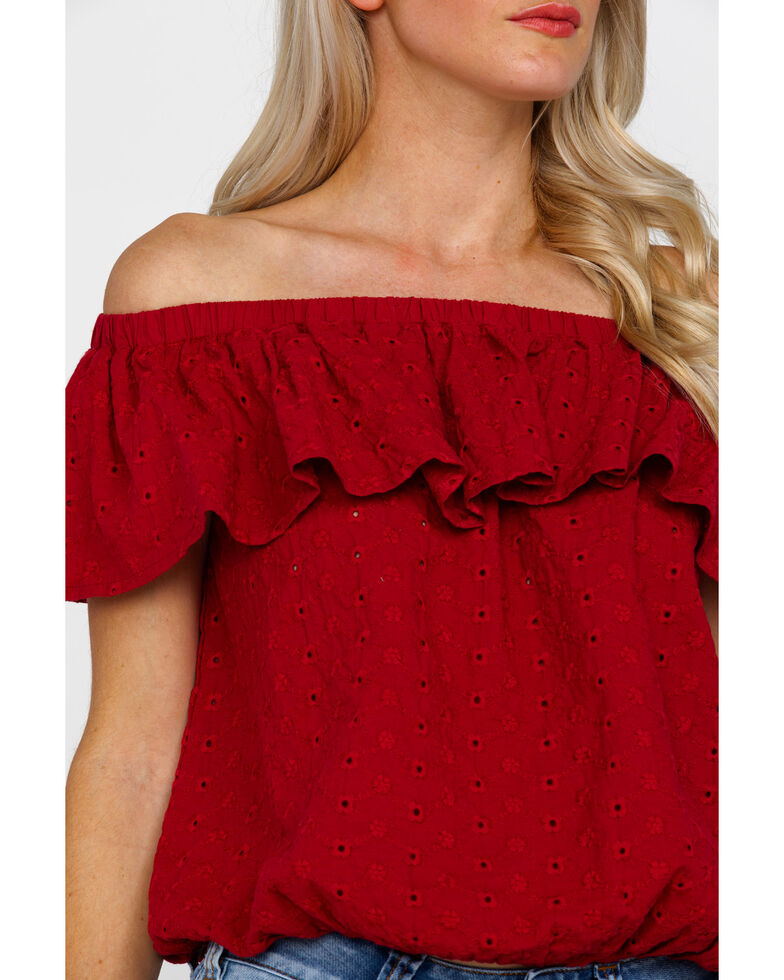 Rock & Roll Cowgirl Women's Off The Shoulder Eyelet Blouse, Red, hi-res