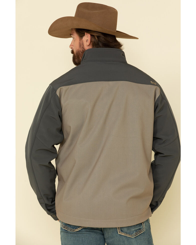 Cinch Men's Grey Colorblock Logo Zip-Front Bonded Jacket - Big , Grey, hi-res
