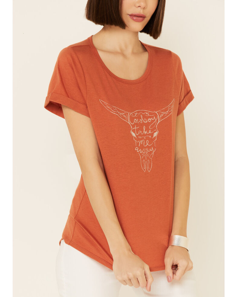 Cut & Paste Women's Cowboy Words Steerhead Graphic Short Sleeve Tee , Rust Copper, hi-res