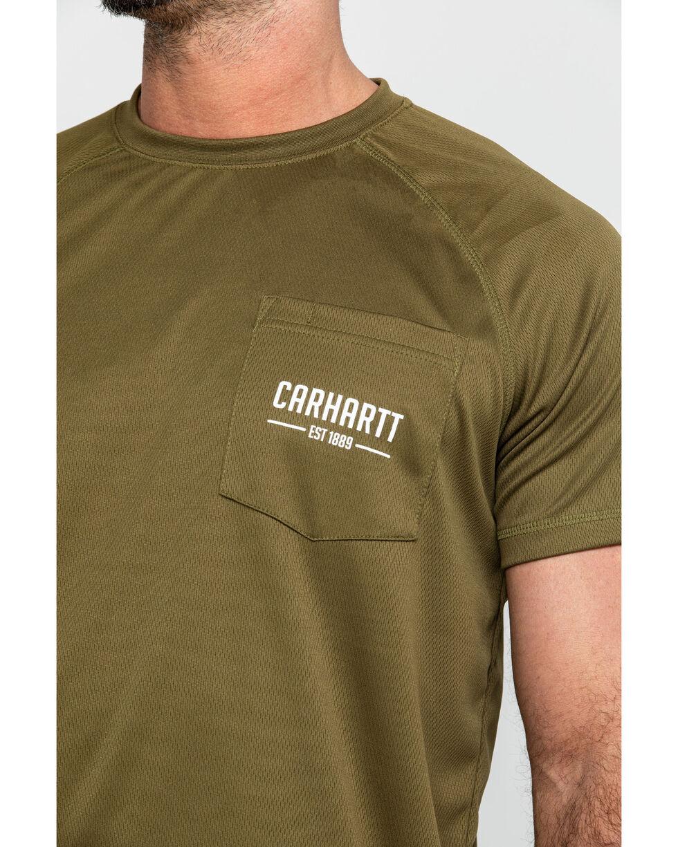 Carhartt Men's Olive Force Birdseye Graphic Short Sleeve Work T-Shirt, Olive, hi-res