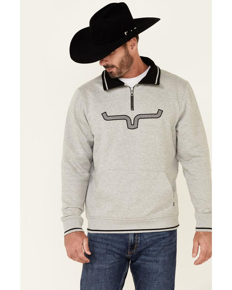 Kimes Ranch Men's Grey Filmore Logo 1/4 Zip Pullover , Heather Grey, hi-res