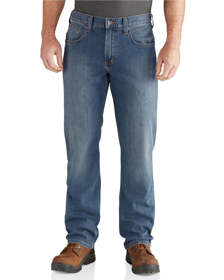 Carhartt Men's Blue Rugged Flex Relaxed Straight Work Jeans, Blue, hi-res
