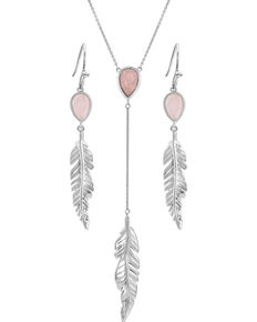 Montana Silversmiths Women's Dreamy Rose Feather Jewelry Set, Silver, hi-res