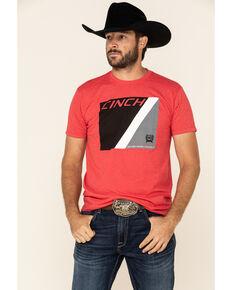 Cinch Men's Red Basic Box Logo Graphic Short Sleeve T-Shirt , Red, hi-res