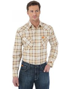 Wrangler Men's FR Khaki Plaid Long Sleeve Work Shirt, Khaki, hi-res
