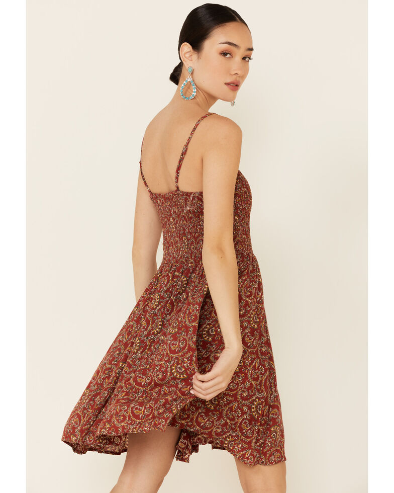 Angie Women's Rust Paisley Smocked Dress, Rust Copper, hi-res