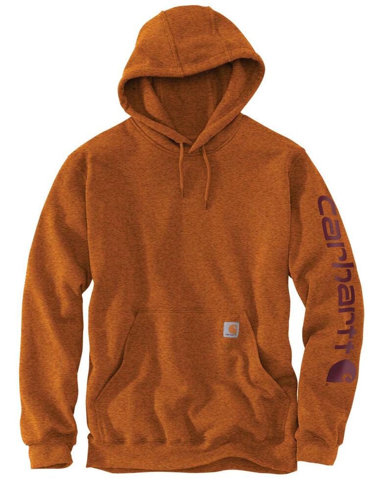 Carhartt Men's Mid Weight Hooded Logo Work Sweatshirt - Tall , Bark, hi-res