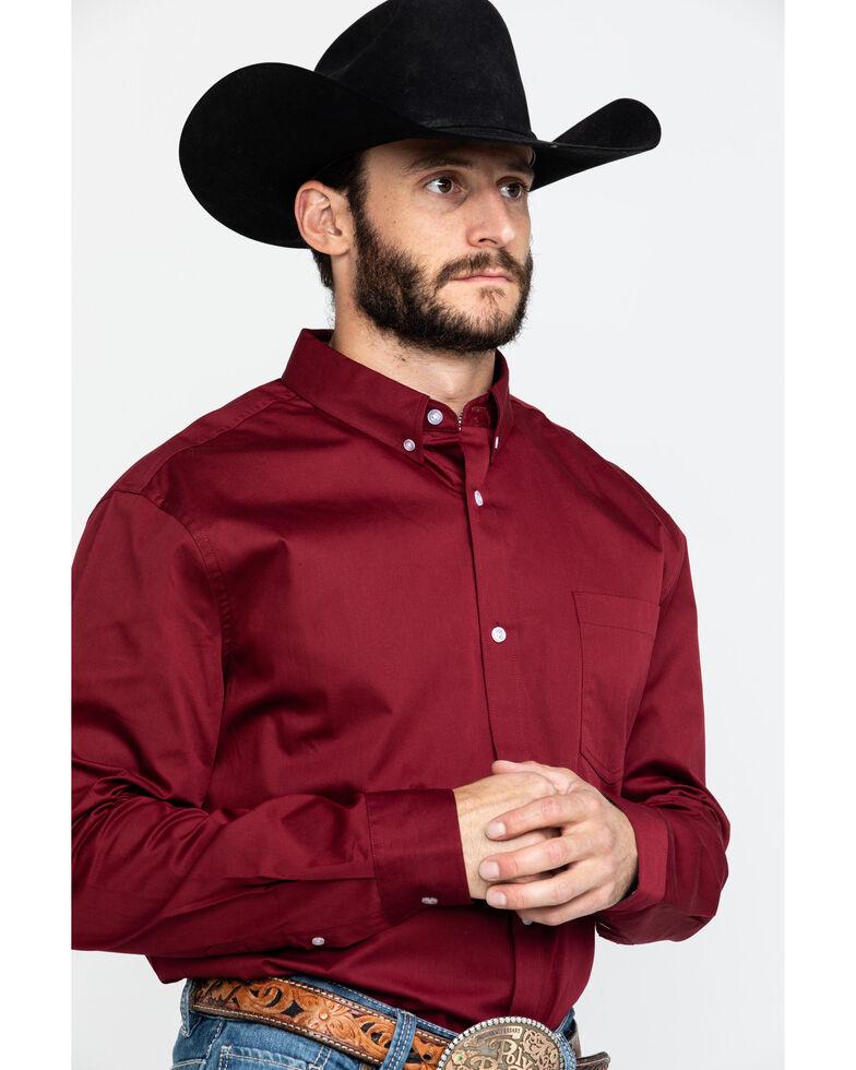 Cody James Core Maroon Solid Twill Long Sleeve Western Shirt , Maroon, hi-res