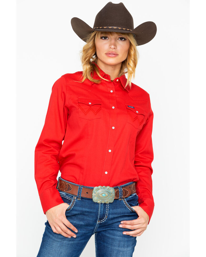 Wrangler Women's Red Core Long Sleeve Western Shirt, Red, hi-res