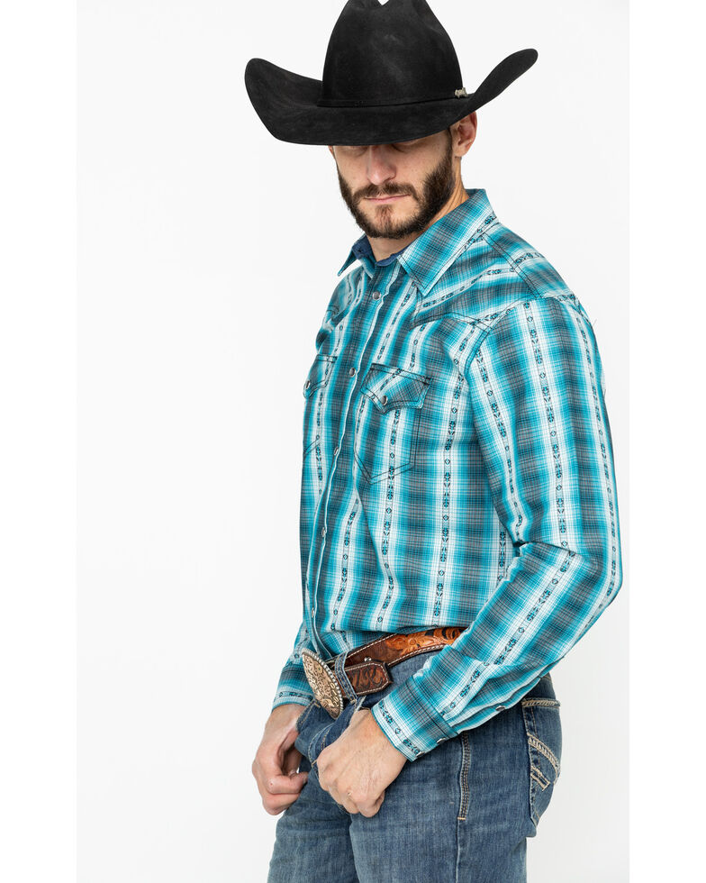 Cody James Men's Native Spirit Plaid Long Sleeve Western Shirt , Turquoise, hi-res