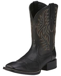 Ariat Sport Western Cowboy Boots - Wide Square Toe, Black, hi-res