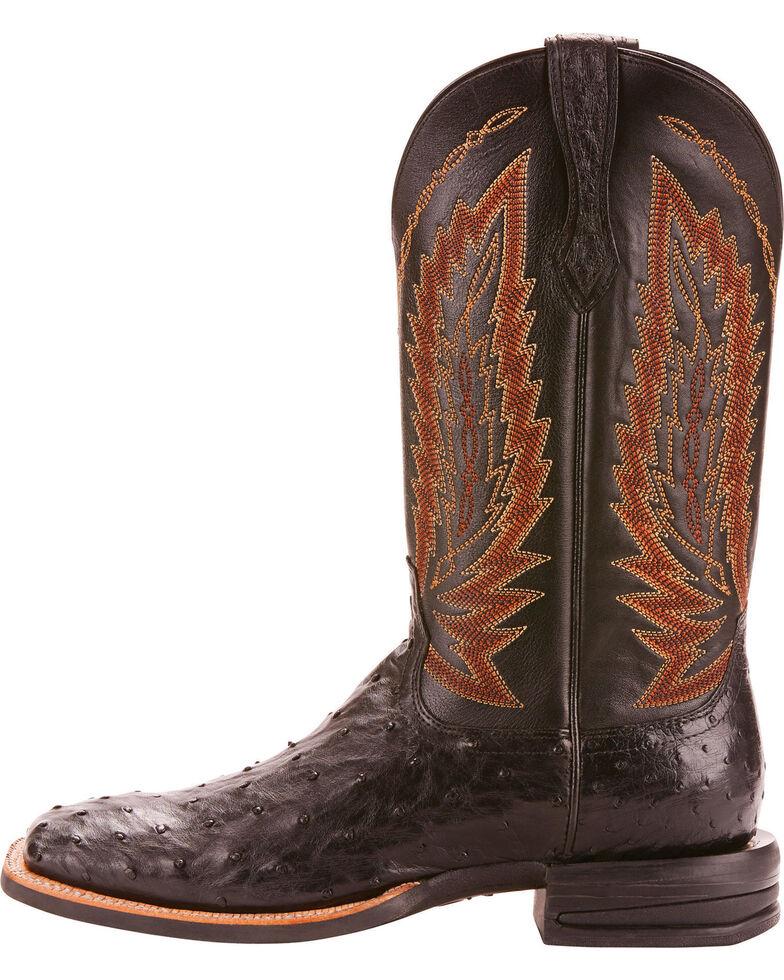 Ariat Men's Platinum Full Quill Ostrich Cowboy Boots - Square Toe , Black, hi-res