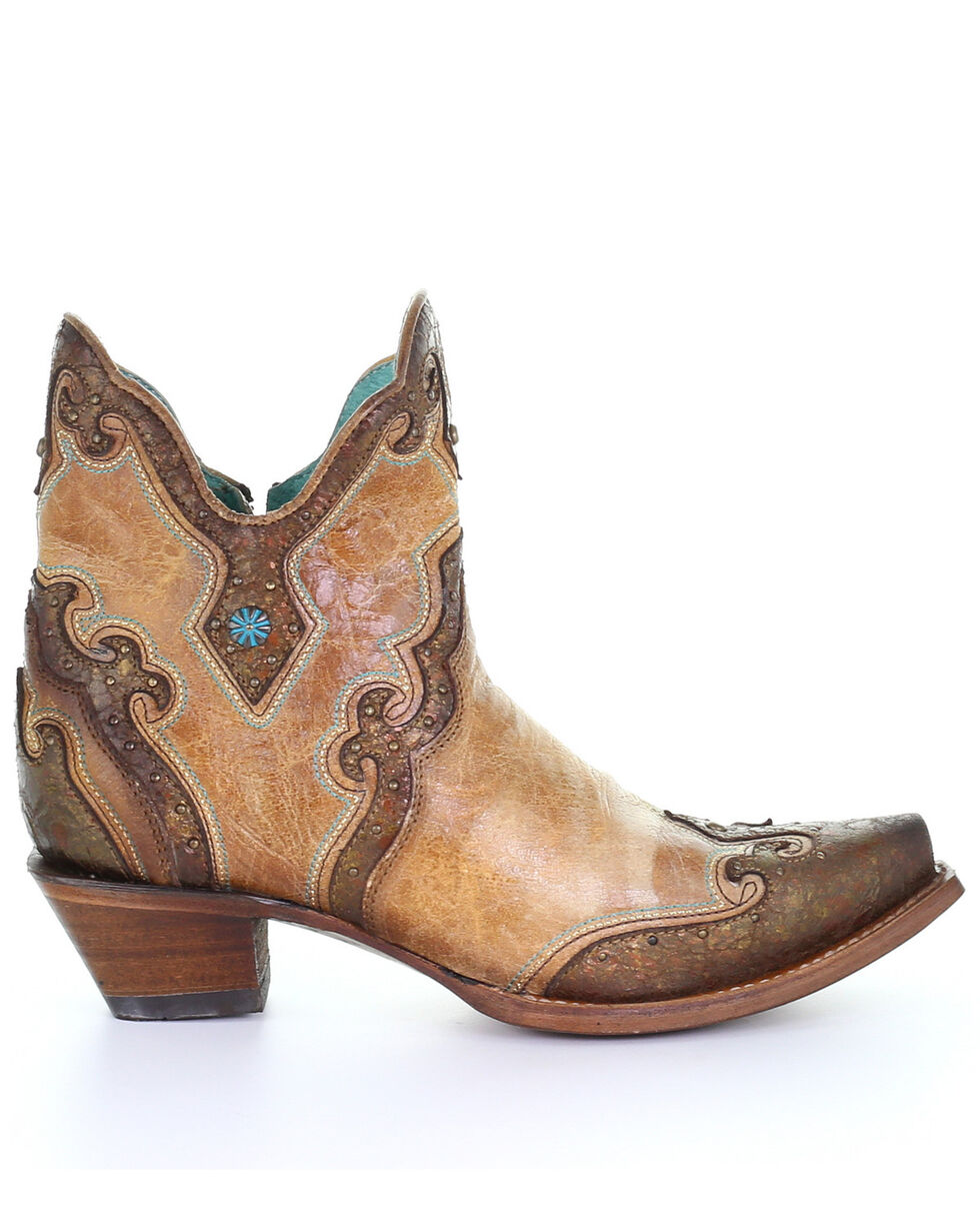 Corral Women's Sand Embroidery Western Booties - Snip Toe, Sand, hi-res