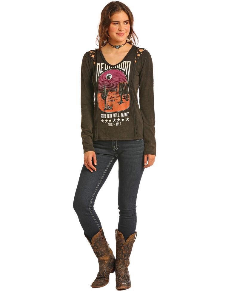 Rock & Roll Cowgirl Women's Cactus Graphic Lattice Shoulder Top, Black, hi-res