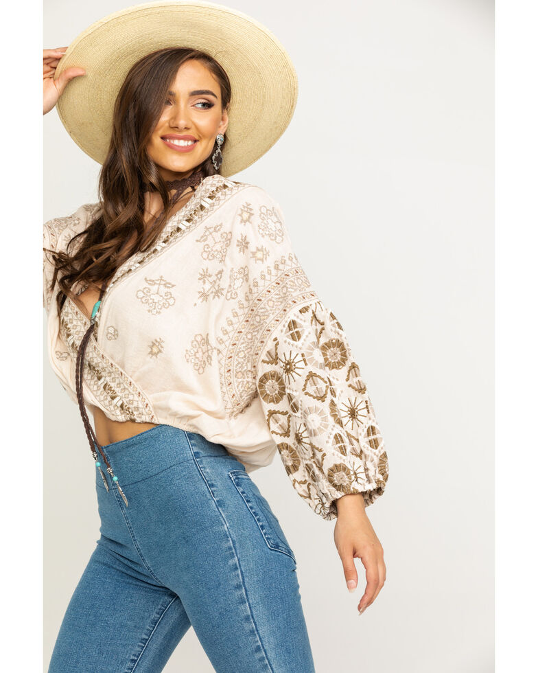 Free People Women's Ivory Harmony Embroidered Blouse, Ivory, hi-res