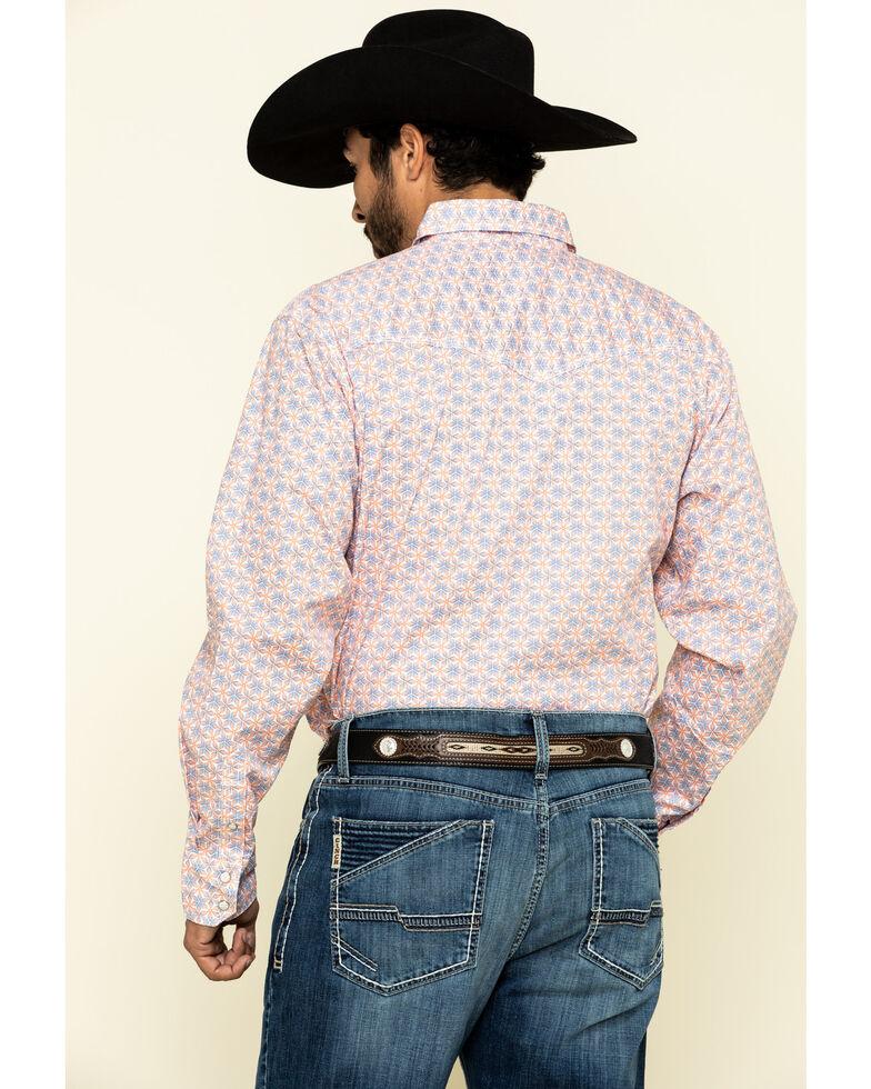 Wrangler 20X Men's Advanced Comfort Orange Geo Print Long Sleeve Western Shirt , Orange, hi-res