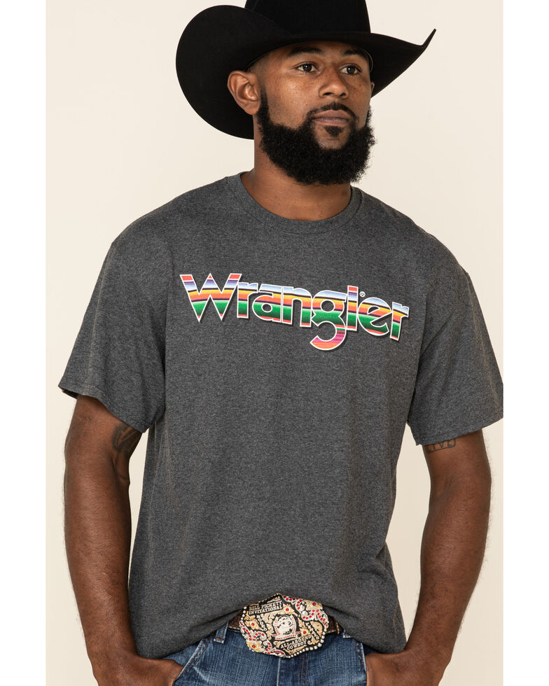 Wrangler Men's Grey Serape Logo Graphic Short Sleeve T-Shirt , Black, hi-res