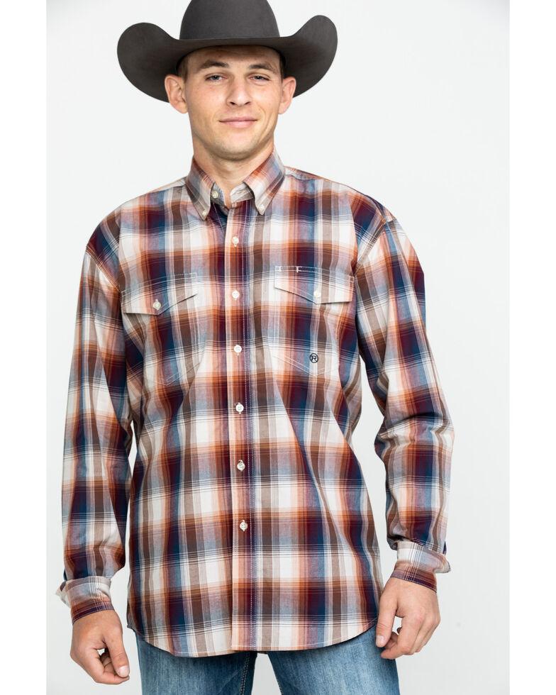Roper Men's Amarillo Blanket Ombre Plaid Long Sleeve Western Shirt , Brown, hi-res
