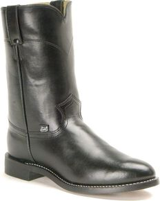 Justin Basics Roper Cowboy Boots - Round Toe, Black, hi-res