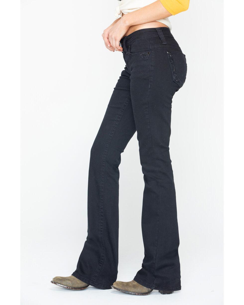 Shyanne Women's Boot Thread Stitch Detail Jeans , Black, hi-res