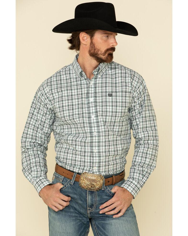 Cinch Men's White Med Plaid Button Long Sleeve Western Shirt , White, hi-res