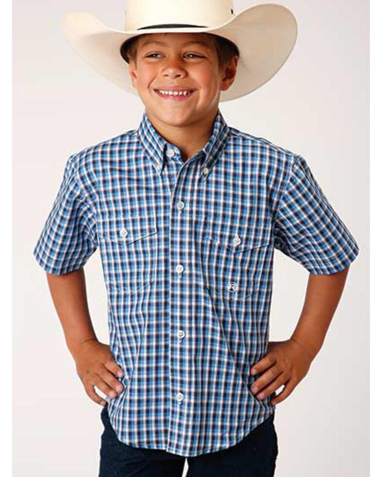 Amarillo Boys' Americana Check Plaid Short Sleeve Western Shirt , Blue, hi-res
