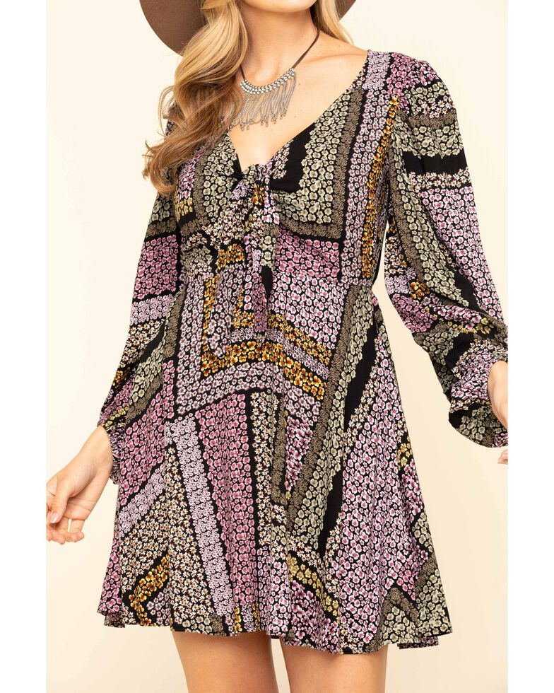 Band of Gypsies Women's Multi Patchwork Tie Front Dress , Multi, hi-res