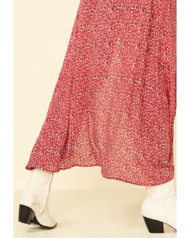 Rock & Roll Denim Women's Faux Wrap Floral Dress, Ivory, hi-res