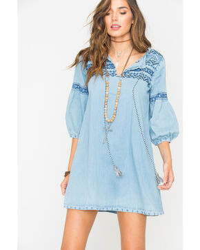 Grace in LA Women's Indigo Denim Embroidered Dress , Indigo, hi-res