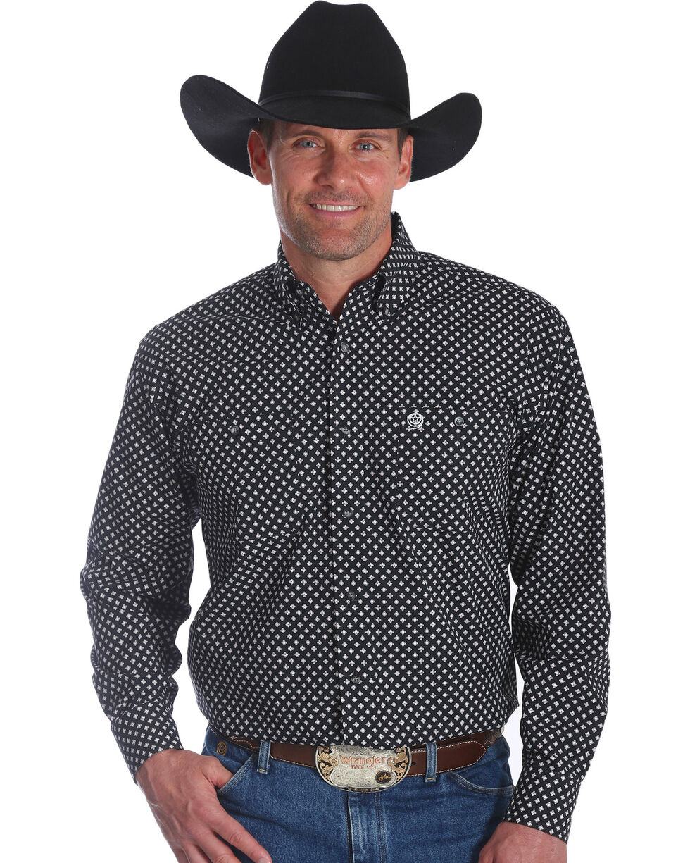 George Strait by Wrangler Men's Black Printed Long Sleeve Western Shirt , Black, hi-res
