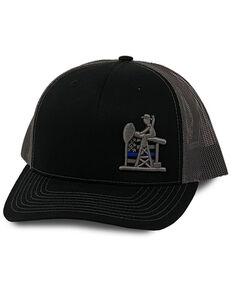 Oil Field Hats Men's Black & Charcoal PJ Cowboy Cop Flag Mesh-Back Ball Cap , Black, hi-res