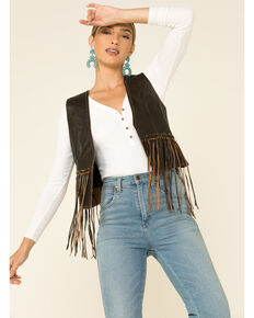 Cripple Creek Women's Coffee Open Front Fringe Vest , Coffee, hi-res