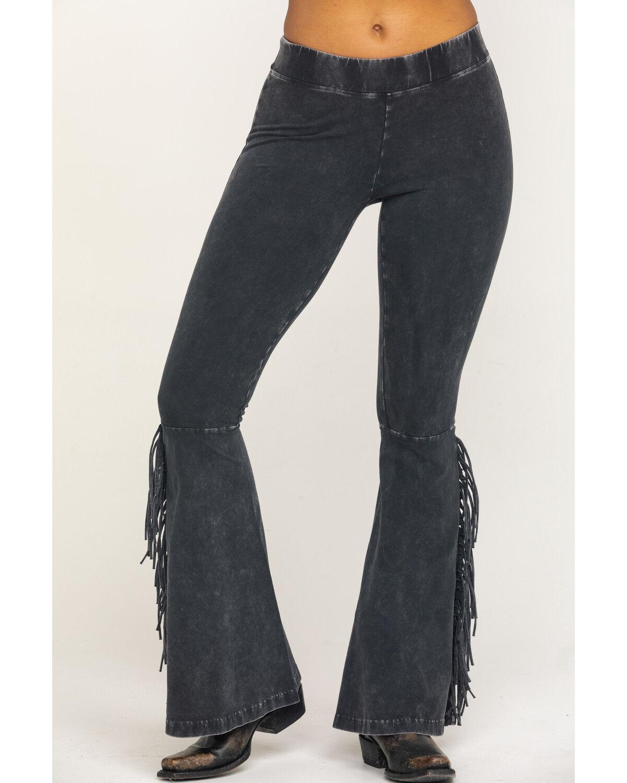 Mineral Wash Black Fringe Pants