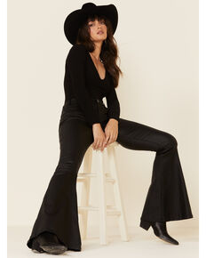 Rock & Roll Denim Women's Black Coated Bell Bottom Jeans , Black, hi-res