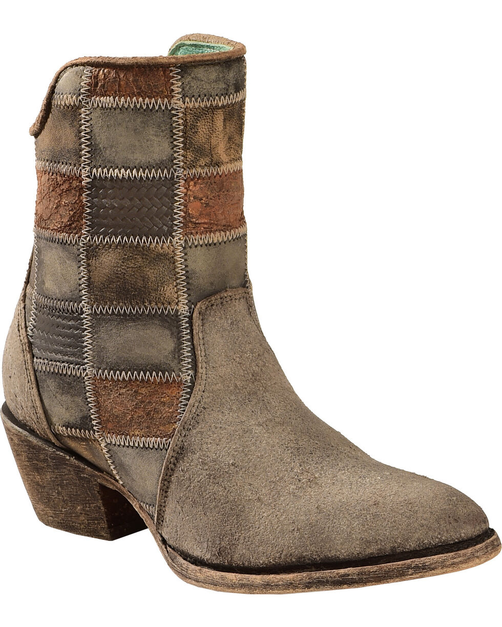 Corral Chocolate Patchwork Cowgirl Booties - Round Toe , Chocolate, hi-res
