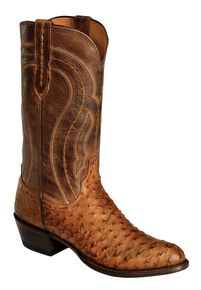 Lucchese Handmade 1883 Full Quill Ostrich Montana Cowboy Boots - Medium Toe, Tan, hi-res