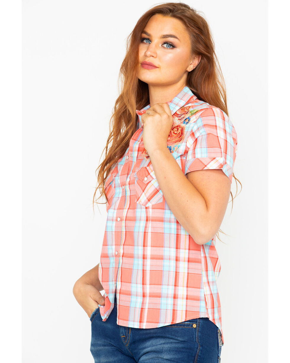 Panhandle Women's Plaid Embroidered Short Sleeve Western Shirt  , Multi, hi-res