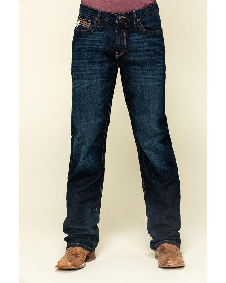 Cinch Men's Grant Performance Denim Stretch Relaxed Bootcut Jeans , Indigo, hi-res