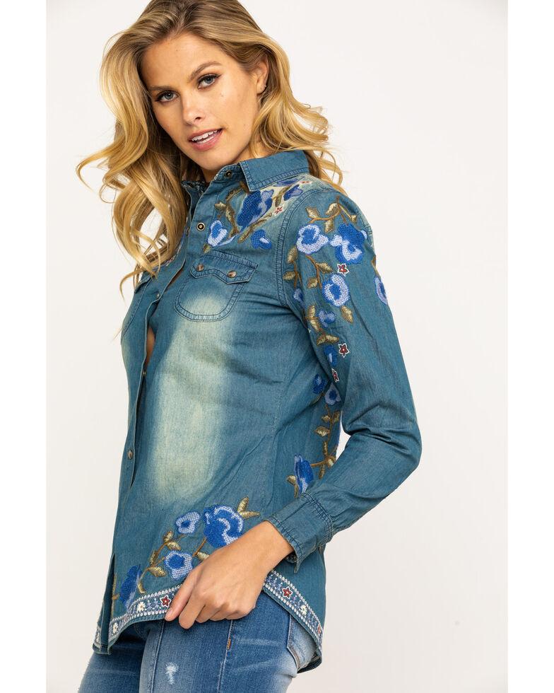 Tasha Polizzi Women's Revolution Denim Embroidered Long Sleeve Shirt , Blue, hi-res