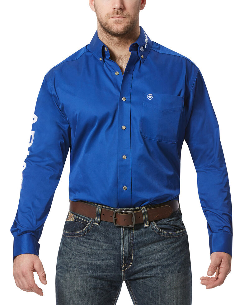 Ariat Men's Solid Twill Team Logo Long Sleeve Western Shirt, Blue, hi-res
