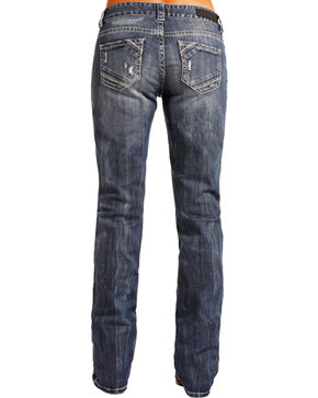 Rock & Roll Cowgirl Women's Distressed Boyfriend Jeans - Boot Cut , Indigo, hi-res