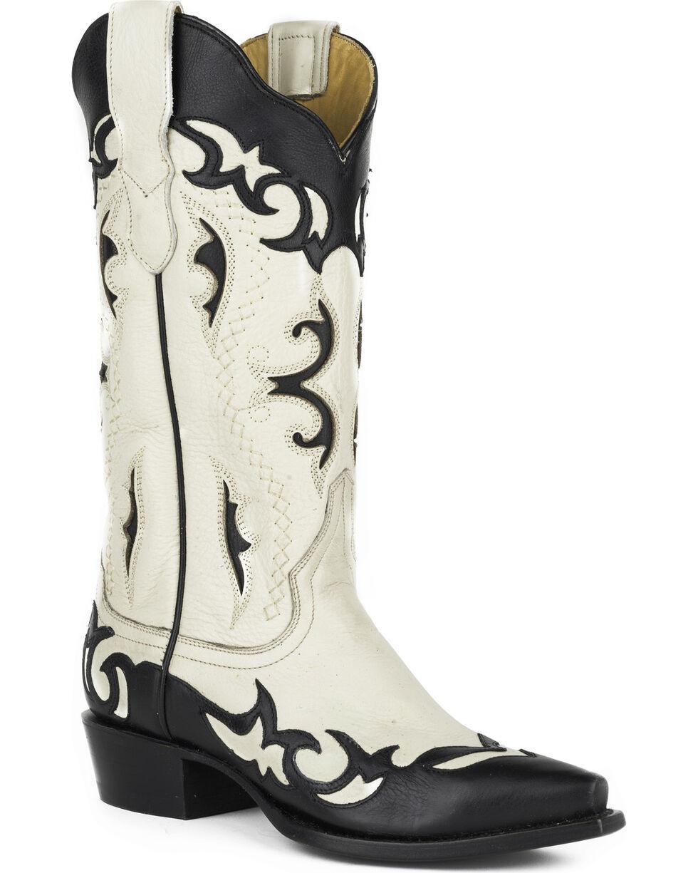 Stetson Women's Piper Black Wingtip Collar Underlays Western Boots - Snip Toe, Black, hi-res