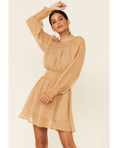 HYFVE Women's Camel Swiss Dot Mini Dress , Camel, hi-res