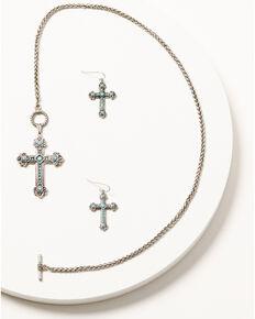 Shyanne Women's Turquoise Cross Single Cross Pendant Set, Silver, hi-res