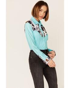 Ranch Dress'n Women's Cow Yoke Shirt, Light Green, hi-res